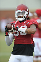 NWA Democrat-Gazette/ANDY SHUPE<br /> Arkansas tight end Will Gragg catches the ball Tuesday, Aug. 1, 2017, during practice at the university's practice field in Fayetteville. Visit nwadg.com/photos to see more photographs from the day's practice.
