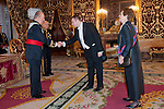 Presentation of credentials from Ambassadors to The King of Spain Juan Carlos I in the credentials room of the Royal Palace. In the picture Mrs. Jasna Krivosic-Prpic, Ambassador from Bosnia and Herzegovina introducing her Diplomatic to to The King of Spain Juan Carlos I .June 21,2012. (ALTERPHOTOS/Ricky)