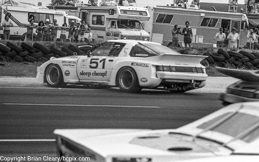 #51 Mazda RX-7 of  Doug Carmean and Don Herman (34th place) spins off the track12 Hours or Sebring, Sebring International Raceway, Sebring, FL, March 19, 1983.  (Photo by Brian Cleary/bcpix.com)