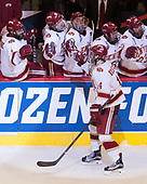 Jarid Lukosevicius (DU - 14) - The University of Denver Pioneers defeated the University of Minnesota Duluth Bulldogs 3-2 to win the national championship on Saturday, April 8, 2017, at the United Center in Chicago, Illinois.