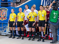 FRISCO, TX - MARCH 11: Referees wait for the start of the game during a game between England and Spain at Toyota Stadium on March 11, 2020 in Frisco, Texas.