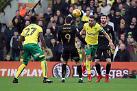 Ivo Pinto of Norwich City heads the ball clear during Norwich City vs Millwall, Sky Bet EFL Championship Football at Carrow Road on 1st January 2018