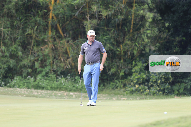 Graeme McDowell (NIR) on the 12th green during Round 1 of the 2015 UBS Hong Kong Open at the Hong Kong Golf Club in The Netherlands on 2/10/15.<br />