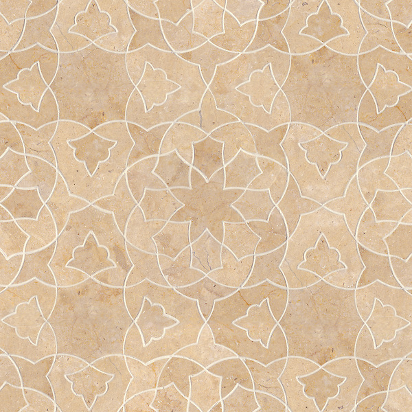 Alcala, a natural stone waterjet mosaic shown in Jerusalem Gold honed, is part of the Miraflores collection by Paul Schatz for New Ravenna.
