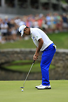 Hideki Matsuyama (JPN) birdie putt on the 16th green during Sunday's Final Round of the WGC Bridgestone Invitational 2017 held at Firestone Country Club, Akron, USA. 6th August 2017.<br /> Picture: Eoin Clarke | Golffile<br /> <br /> <br /> All photos usage must carry mandatory copyright credit (&copy; Golffile | Eoin Clarke)