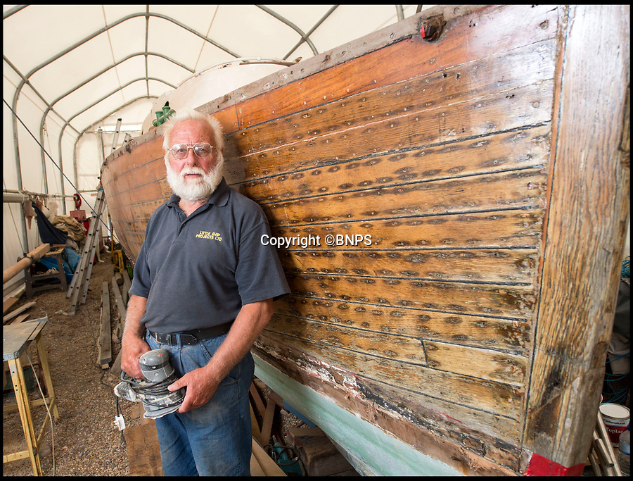 BNPS.co.uk (01202 558833)<br /> Pic: PhilYeomans/BNPS<br /> <br /> Boatbuilder Derek Abra is in charge of the 'Counts' complete restoration at David Wilson's boatyard in Hayling Island, Hampshire.<br /> <br /> Back from the dead - Count Dracula, the Dunkirk little ship that refuses to die.<br /> <br /> A boat yard owner is helping to restore the German-built 'little ship' which rescued his father and 711 other men from Dunkirk.<br /> <br /> David Wilson is one of the men painstakingly restoring the Count Dracula which carried his father Sergeant William Wilson and his fellow engineers home during Operation Dynamo. <br /> <br /> Sgt Norman was left behind with a group of engineers to blow up a bridge then they made their way along the coast looking for a means to escape.<br /> <br /> They found this boat with the crew washed up on a mud bank and the mechanic with them managed to jury rig the gear box to allow them to set off.<br /> <br /> The 50ft long ship had a remarkable existence even prior to Dunkirk as it was built for the German navy in 1913.