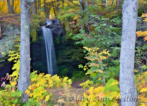 Photography based art image of Sam's Falls, Upper Peninsula, Michigan