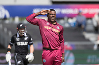 Sheldon Cottrell (West Indies) celebration a little premature as decision is over turned during West Indies vs New Zealand, ICC World Cup Warm-Up Match Cricket at the Bristol County Ground on 28th May 2019