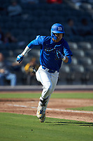 Joey Loperfido (36) of the Duke Blue Devils hustles down the first base line against the Coastal Carolina Chanticleers at Segra Stadium on November 2, 2019 in Fayetteville, North Carolina. (Brian Westerholt/Four Seam Images)