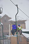 Emma snowboarding on a snowy day at Crested Butte, Colorado.