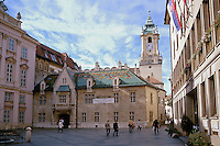 Primacialny namestie - Slovak city square with the exterior of the Primate's palace (L), and the Old Town Hall and Municipal Museum at center. Bratislava, Slovakia.