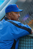 New York Mets Manager Willie Randolph during batting practice before a game from the 2007 season at Dodger Stadium in Los Angeles, California. (Larry Goren/Four Seam Images)