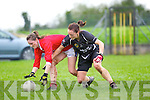Sliabh Luachra's Aisling Leonard battles against Aisling Barrett of Donoughmore for the loose ball last Saturday in the Ladies Munster Final held in Paddy Carroll Park, Ballyagran.