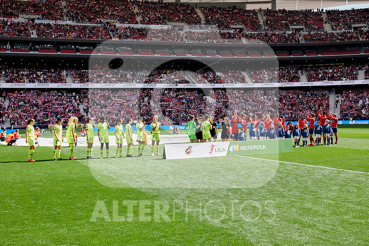 Atletico de Madrid's team and FC Barcelona's team during Liga Iberdrola match between Atletico de Madrid and FC Barcelona at Wanda Metropolitano Stadium in Madrid, Spain. March 17, 2019. (ALTERPHOTOS/A. Perez Meca)