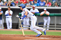 Tennessee Smokies first baseman Jared Young (19) swings at a pitch during a game against the Birmingham Barons at Smokies Stadium on May 15, 2019 in Kodak, Tennessee. The Smokies defeated the Barons 7-3. (Tony Farlow/Four Seam Images)