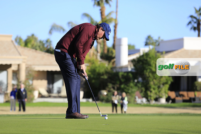 Phil Mickelson (USA) birdie putt on the 16th green during Saturday's Round 3 of the 2017 CareerBuilder Challenge held at PGA West, La Quinta, Palm Springs, California, USA.<br /> 21st January 2017.<br /> Picture: Eoin Clarke | Golffile<br /> <br /> <br /> All photos usage must carry mandatory copyright credit (&copy; Golffile | Eoin Clarke)