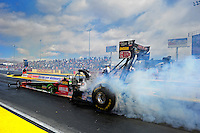 Apr. 1, 2012; Las Vegas, NV, USA: NHRA top fuel dragster driver Terry McMillen during the Summitracing.com Nationals at The Strip in Las Vegas. Mandatory Credit: Mark J. Rebilas-