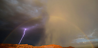 LIGHTNING & RAINBOW- RED CLIFF DESERT RESERVE- SNOW CANYON- ST. GEORGE, UTAH- VERY RARE!!! IVINS- SNOW CANYON STATE PARK- RED MTN- RED CLIFFS DESERT RESERVE LIGHTNING