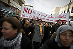 © Remi OCHLIK/IP3 -  Kasserine Tunisia - Saturday 24 January - Protesters who want the RDC, the Bel Ali party to be dismembered, demonstrate in Kasserine streets. The 6 january 2011 a desperate young man  unemployed from set himself on fier in front of the rail way station of Kasserine. Next days demonstrations and riots took place in the citie. Policemen and police snipers  killed 56 protesters.