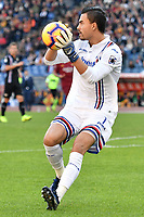 Emil Audero of Sampdoria takes a ball during the Serie A 2018/2019 football match between AS Roma and UC Sampdoria at stadio Olimpico, Roma, November, 11, 2018 <br />  Foto Andrea Staccioli / Insidefoto