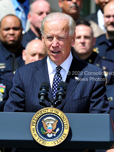 United States Vice President Joe Biden introduces U.S. President Barack Obama as they honor the 2012 National Association of Police Organizations (NAPO) TOP COPS award winners during a ceremony in the Rose Garden of the White House in Washington, D.C. on Saturday, May 12, 2012..Credit: Ron Sachs / Pool via CNP