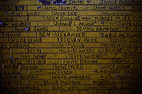 Names of deceased persons written on a wall in Altgeld , South Side Chicago, Illinois, United States on thursday August 7 2008..Senator Barack Obama, the 2008 democratic party presidential candidate, begun his political career by being an organizer in these neighborhoods..Altgeld and other South Side neighborhoods of Chicago are among the most violent and segregated in the Country.