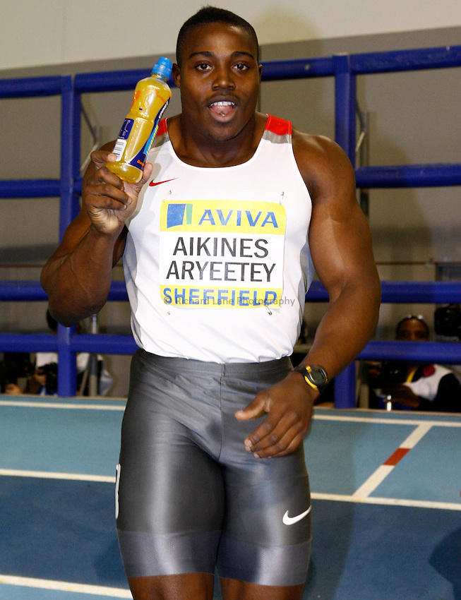 Photo: Richard Lane/Richard Lane Photography. Aviva World Trials & UK Championships. 13/02/2010. Harry Aikines Aryeetey after the men's 60m final.