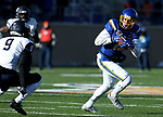 BROOKINGS, SD - DECEMBER 9: Jake Wieneke #19 from South Dakota State University eludes the defense of Isiah Perkins #9 from the University of New Hampshire during their FCS quarterfinal game Saturday afternoon at Dana J. Dykhouse Stadium in Brookings, SD. (Photo by Dave Eggen/Inertia)