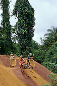 Ouro Verde, Brazil. Overview; garimpeiros (prospectors) with wheelbarrows digging in an illegal gold mine - garimpo.