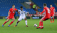 (L-R) David Edwards of Wales puts pressure on Ricardo Avila of Panama during the international friendly soccer match between Wales and Panama at Cardiff City Stadium, Cardiff, Wales, UK. Tuesday 14 November 2017.