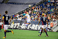September 9, 2017 - Foxborough, Mass: Montreal Impact midfielder Samuel Piette (29) heads the ball during the MLS game between the Montreal Impact and the New England Revolution held at Gillette Stadium in Foxborough Massachusetts. Revolution defeat Impact 1-0. Eric Canha/CSM