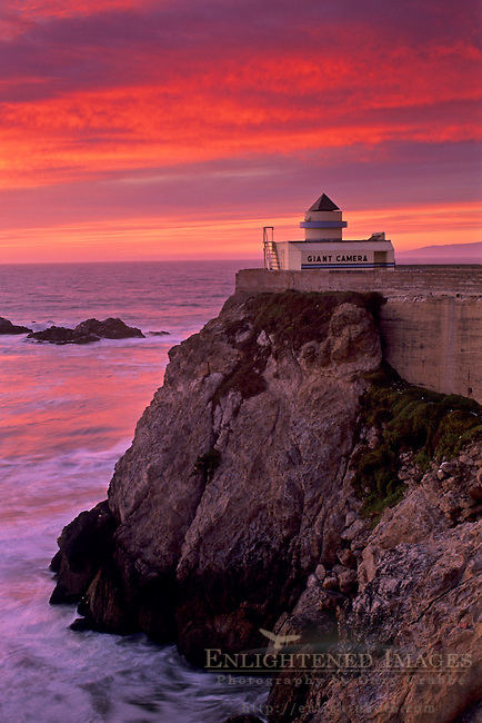 Sunset over the Camera Obscura at The Cliff House, San Francisco, California