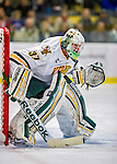 24 November 2012: University of Vermont Catamount goaltender Brody Hoffman, a Freshman from Wilkie, Saskatchewan, in first period action against the University of Minnesota Golden Gophers at Gutterson Fieldhouse in Burlington, Vermont. The Catamounts fell to the Gophers 3-1 in the second game of their 2-game non-divisional weekend series. Mandatory Credit: Ed Wolfstein Photo