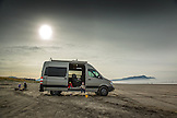 USA, Oregon, Gearhart, a travel van parked on the beach in Gearhart which is north of Seaside