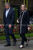 Amber Rudd MP (Secretary of State for the Home Department) &amp; Brandon Lewis MP (Minister of State for Immigration).<br /> <br /> London, 12/06/2017. Today, Theresa May's reshuffled Cabinet met at 10 Downing Street after the General Election of the 8 June 2017. Philip Hammond MP - not present in the photos - was confirmed as Chancellor of the Exchequer. <br /> After 5 years of the Coalition Government (Conservatives &amp; Liberal Democrats) led by the Conservative Party leader David Cameron, and one year of David Cameron's Government (Who resigned after the Brexit victory at the EU Referendum held in 2016), British people voted in the following way: the Conservative Party gained 318 seats (42.4% - 13,667,213 votes &ndash; 12 seats less than 2015), Labour Party 262 seats (40,0% - 12,874,985 votes &ndash; 30 seats more then 2015); Scottish National Party, SNP 35 seats (3,0% - 977,569 votes &ndash; 21 seats less than 2015); Liberal Democrats 12 seats (7,4% - 2,371,772 votes &ndash; 4 seats more than 2015); Democratic Unionist Party 10 seats (0,9% - 292,316 votes &ndash; 2 seats more than 2015); Sinn Fein 7 seats (0,8% - 238,915 votes &ndash; 3 seats more than 2015); Plaid Cymru 4 seats (0,5% - 164,466 votes &ndash; 1 seat more than 2015); Green Party 1 seat (1,6% - 525,371votes &ndash; Same seat of 2015); UKIP 0 seat (1.8% - 593,852 votes); others 1 seat. <br /> The definitive turn out of the election was 68.7%, 2% higher than the 2015.<br /> <br /> For more info about the election result click here: http://bbc.in/2qVyNRd &amp; http://bit.ly/2s9ob51<br /> <br /> For more info about the Cabinet Ministers click here: https://goo.gl/wmRYRd