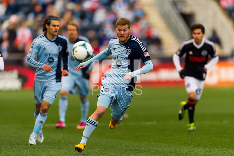 Oriol Rosell (20) of Sporting Kansas City during the first half against the Philadelphia Union Sporting Kansas City defeated the Philadelphia Union 3-1 during a Major League Soccer (MLS) match at PPL Park in Chester, PA, on March 2, 2013.
