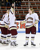 Megan Shea (Boston College - 23), Shannon Webster (Boston College - 12) - The Boston College Eagles defeated the Harvard University Crimson 1-0 to win the Beanpot on Tuesday, February 10, 2009, at Matthews Arena in Boston, Massachusetts.