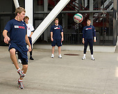 Jake Gardiner (US - 8) (Fowler, Ryan, Morin) - Team USA warms up outside the rinks prior to their fourth game against Team Russia during the 2009 USA Hockey National Junior Evaluation Camp on Saturday, August 15, 2009, in Lake Placid, New York.