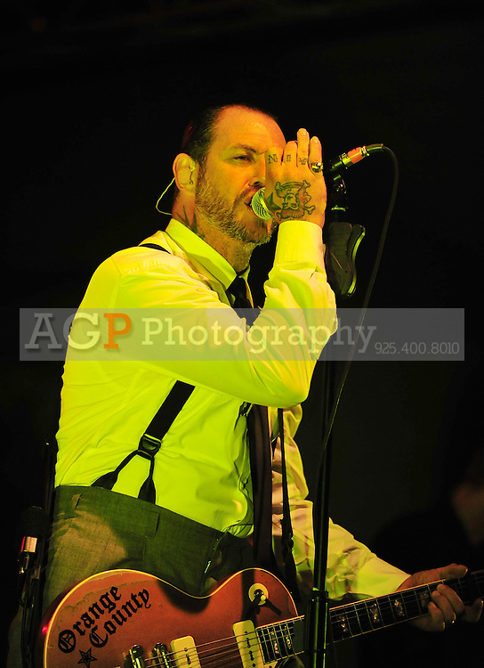 Jan. 24, 2011 - Bakersfield, California - U.S.  - Social Distortion led by MIKE NESS perform at the Kern County Fairgrounds Monday. Performing with Ness are JONNY WICKERSHAM on guiter, bassist BRETT HARDING and DAVE HIDALGO JR on drums. (Credit Image: Alan Greth/ZUMAPress.com).
