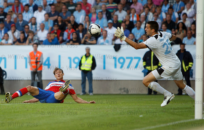 Nikica Jelavic scores for Rangers as he shoots past malmo keeper Dusan Malicharek