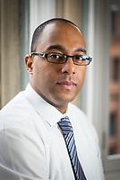 Portrait of Wesley Selkridge, Financial Executive of A&M Wealth Management. Manchester, United Kingdom, 12/02/15.