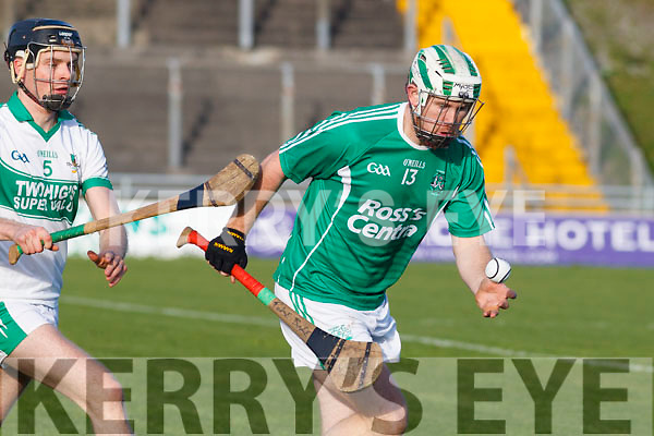 Padraig Boyle of Ballyduff in action against John Browne Kanturk in the semi final of the Munster Intermediate Club championship.