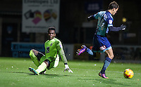 Scott Kashket of Wycombe Wanderers rounds Goalkeeper Reice Charles-Cook of Coventry City to score his goal during the The Checkatrade Trophy Southern Group D match between Wycombe Wanderers and Coventry City at Adams Park, High Wycombe, England on 9 November 2016. Photo by Andy Rowland.
