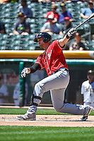 Will Middlebrooks (16) of the El Paso Chihuahuas at bat against the Salt Lake Bees in Pacific Coast League action at Smith's Ballpark on July 26, 2015 in Salt Lake City, Utah. El Paso defeated Salt Lake 6-3 in 10 innings.  (Stephen Smith/Four Seam Images)