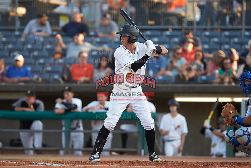 Brett Pope (6) of the West Virginia Power at bat against the Lexington Legends at Appalachian Power Park on June 7, 2018 in Charleston, West Virginia. The Power defeated the Legends 5-1. (Brian Westerholt/Four Seam Images)