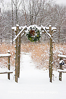 63821-174.11 Rustic fence & arbor with holiday wreath near prairie in winter, Marion Co. IL