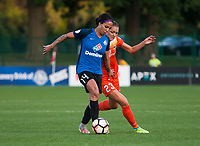 Kansas City, MO - Sunday July 02, 2017:  Sydney Leroux controls the ball against Cami Privett during a regular season National Women's Soccer League (NWSL) match between FC Kansas City and the Houston Dash at Children's Mercy Victory Field.