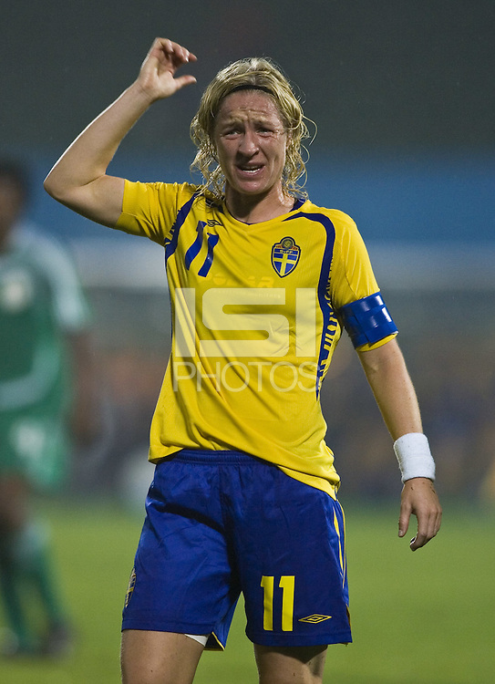 Sweden forward (11) Victoria Svensson. Sweden (SWE) tied Nigeria (NGA) 1-1 during a FIFA Women's World Cup China 2007 opening round Group B match at Chengdu Sports Center Stadium, Chengdu, China, on September 11, 2007.