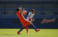 Jay DaSilva (Chelsea) of England U19 hits the ball past Mitchell Van Rooijen (Jong FC Utrecht) of Holland during the International match between England U19 and Netherlands U19 at New Bucks Head, Telford, England on 1 September 2016. Photo by Andy Rowland.