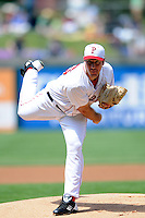 Pawtucket Red Sox pitcher Ross Ohlendorf #46 during a game versus the Columbus Clippers at McCoy Stadium in Pawtucket, Rhode Island on May 13, 2012.   (Ken Babbitt/Four Seam Images)